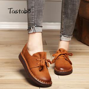 Holgazanes informal Zapato sin tacones de zapatos de las mujeres embarazadas Tastabo con cordones de zapatos de conducción Madre Mujer Mujeres Pisos a mano de coser zapatos CX200722