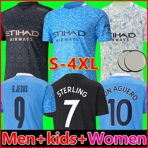 20 21 Manchester City maillots de football MAN 2021 2020 G. JESUS Mahrez BRUYNE AGUERO KUN Maillot de foot MAN hommes + kit pour enfants enfant de la soccer jersey ville