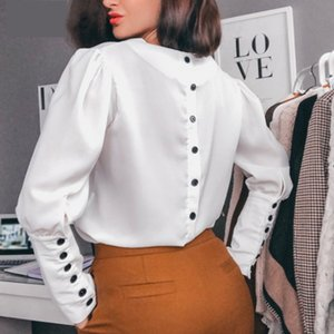 Women Back Button v Neck Casual Blouse Fashion Long Sleeve White Tops And Blouse Women Elegant Office Shirts T200720