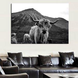 Хайленд Черная корова Wall Art Холст Картина Плакаты и распечатывает Скот Nordic Wall Фотографии для украшения комнаты Скандинавский Як