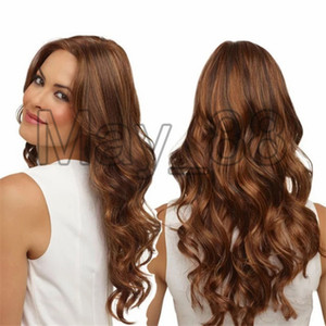 2020 Popular Long Brown Wigs Synthetic Wigs For Black White Women Glueless Wavy Cosplay Wigs Heat Resistant Daily Wig