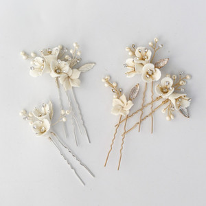 Clips Jonnafe novia hechos a mano Pasadores porcelana, flores, joyas Celada mujeres ornamento del pelo perlas que casan