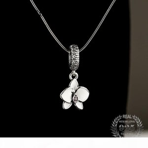 2017 Summer White Enamel Orchid Charms Pendant Fit Pandora Bracelets Silver 925 Original Floral Beads For Jewelry Making