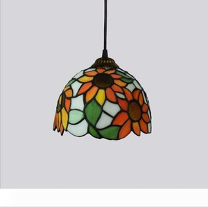 Tiffany Style Lights Ceiling Pendant Stained Glass Shade Cafe Store Stairs Balcony Dingningroom Livingroom Hanging Lamp Flower Sun Flower