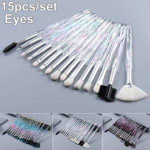 Макияж глаз набор кистей 15 шт Кристалл Алмазные ручки щетки Комплект Eyeshadow Eyeliner Blending Ресницы для губ Кисти Косметика для бровей Make Up Tool