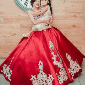 L'oro sfera raso rosso Quinceanera abiti ricamati in rilievo Livelli Gonna promenade di laurea principessa partito del vestito Sweet 16 Ragazze