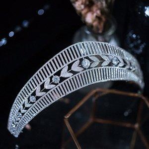 Joyería Queenco princesa Crown Tiara circón plata de las mujeres del color del pelo de la venda nupcial de la boda Accesorios eIfY #