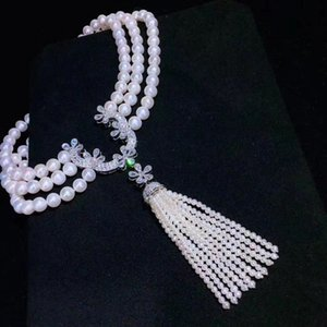 Top new fashion 3 layer pearl chains necklaces cubic zircon micro pave setting women party accessoriers jewellery