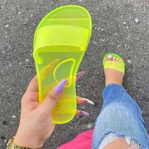 Litthing лето Женщины тапочки женщина конфеты цвета Прозрачное вскользь Скольжение Слайды женщин на плоские Благоустроенный пляж обувь
