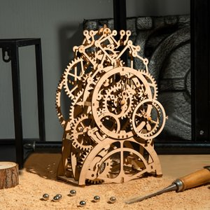 DIY 3D Wooden Mechanical Puzzle Model Building Kits Laser Cutting Action by Clockwork Gift Toys for Children