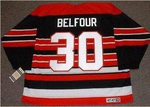 Homens # 30 D Belfour Chicago Blackhawks 1992,1996 CCM Longe Hockey Jersey ou personalizado qualquer nome ou número retro Jersey