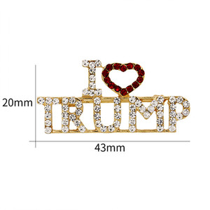 I Love Trump Brooch Alloy Rhinestone Breast-Pin English Letter Corsage Fashion Creative Hot Selling In Europe And America 3 8md J1