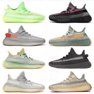2020 Kanye West Statik Koşu Ayakkabıları Yeni Israfil Kilit Çöl Adaçayı Dünya Kuyruk Işık Zebra Bayan Erkek Eğitmenler Sneakers Boyutu 13