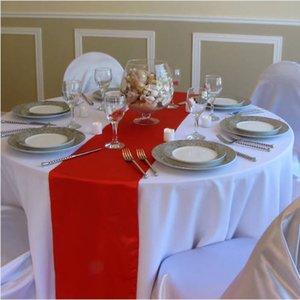 20PCS 30 * 275 centímetros festa de casamento roxa Vermelho Rosa Runner Gold Hotel Satin Tabela Banquet Festival Tabela Decoração Y200421