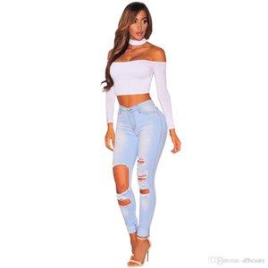 2019 Fashion Blue Women Skinny Ripped Hole Jeans Push Up Mid Waist Denim Pants Ladies Slim Fit Long Pants Female Trousers Free Shipping