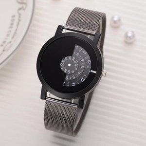 Orologi Donne Trendy Modern orologio unisex del quarzo delle donne dell'acciaio inossidabile di modo Maglia creativa Quadrante moda casuale regalo Mens