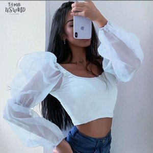 Womens Long Puff Sleeves T Shirt New Lace Solid Color Square Collar Leotard Tops V Neck Wear Sexy Summer Fashionable T Shirts