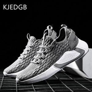 KJEDGB 2020 Marca de malla Hombres zapatillas de deporte de alta calidad de luz suave de los zapatos ocasionales hombres cómodos Negro Gris ayuda dropshipping