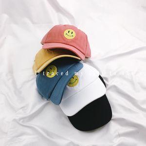 Korean ulzzang cute smiling face embroidery children's leisure all-match soft baseball Umbrella baseball cap top cap baby sunshade