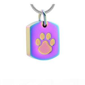 Aço inoxidável da pata do cão Gravura Memorial Urn Jóias Loss Of Pet Colar Pendant Cremação lembrança