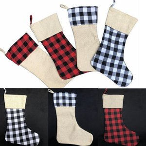 Christmas Decorations Plaid Xmas Stockings Monogrammable Burlap Candy Bag Gift Organizer Christmas Tree Hanging Ornament 4 Designs DW4755