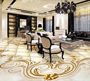 3D Flooring Wallpaper PVC Self Adhesive Wallpapers Luxury Golden Rose Marble Soft Case Home Decor Living Room bedroom the mall WallPapers