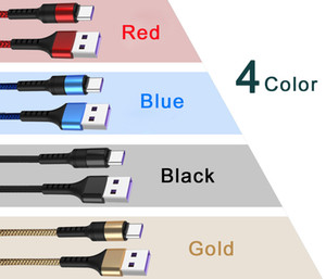 1M 2M Type C Cable USB 5A Fast Charger Braided Cables charging Cable for huawei Mobile Phone
