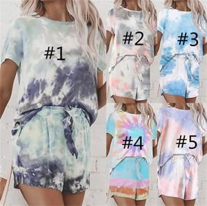 Frauen Tie-Dye Farbe Anzug Aufmaß loses T-Shirt + Shorts Zweiteiliges Outfit Sommer-Damen Schweiß beiläufige Klagesportkleidung Pyjama Sets LY710