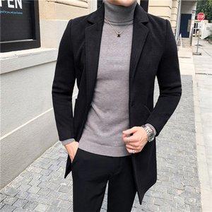 Slim Mens Wool Blends Winter Thicken Fashion Men Coats Solid Color Plus Size Blazer Collar Mens Outerwear Coats