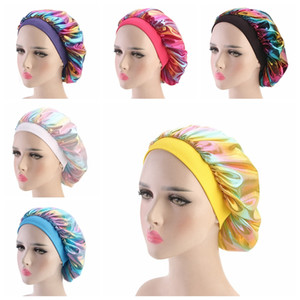 Muslim Women Wide Stretch Breathable Bandana Night Sleeping Turban Hat Headwrap Bonnet Chemo Cap Hair Accessories Party Supplies RRA3379