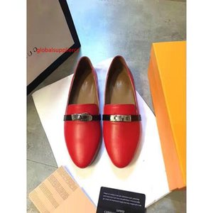 406418 Real cowhide red shallow mouth pointed shoes Women Running Ballerina Flats SNEAKERS Shoes Loafers Espadrilles Wedges Dress