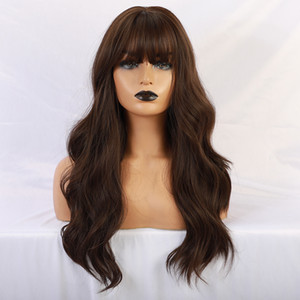 new Long Brown Color Synthetic Natural Wave Wigs with Neat Bangs for White Black Women Party Wear