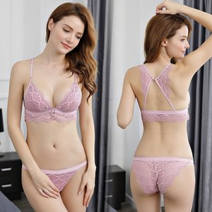 Newest Sexy Lace 3 4 Cup Bra Sets For Women Wireless Thin Cotton Breathable Comfortable Underwear Solid color Lingerie Set