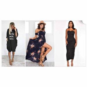 Yaz Kadın Harf Baskılı Elbiseler Moda Tasarımcısı Ekip Boyun Kasetli Bayan Modelleri Casual Gevşek Uzun Kollu Giyim
