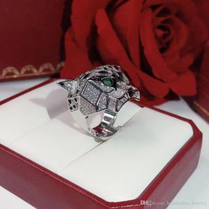 Leopard кольцо Brand Классическая мода партия ювелирных изделий для женщин розового золота черный узор пантеры Обручальные Роскошные Полный просверливания мужские кольца