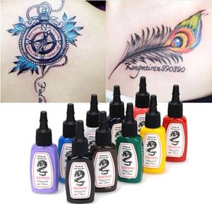 10 Farben / Flaschen-Tätowierung-Tinten-Pigment-Satz-Kits für Körper-Kunst-Tätowierung 15ml 1/2 Unze Professinal Schönheit Make-up Tattoo-Tinten Freien Verschiffen clQa #