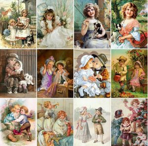 Full Round Drill DIY 5D Diamond Child Painting Portrait Home Decor Dolly Cross Stitch Embroidery Landscape Picture Wall Sticker