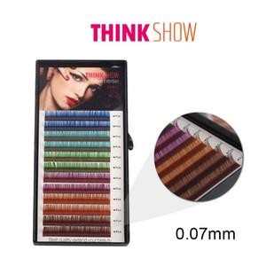 0.07mm kalınlık Tüm Boyut Renk Kirpik Uzatma İpek Hacim Kirpik El yapımı Bireysel Yanlış Göz Lashes Renk Sahte Kirpikleri