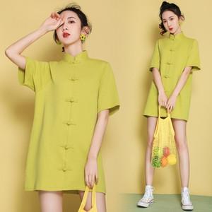 A forma moderna Cheongsam vestido verde do verão chinês tradicional vintage Vestidos Feminino Lady Oriental elegante roupa Vestido