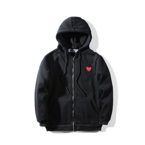 Fashion mens designers hoodies of red heart white commes cotton men women des garcons casual windbreaker jackets winter coats