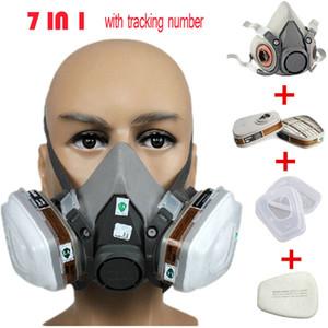 Toptan-6200 Maske Gaz Vücut Maskeleri Toz Filtresi Toz Gaz Yarım yüz Mask Sprey Boya Maske, İnşaat / Madencilik