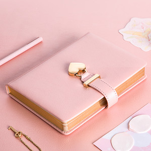 Journal Diary Notebook With Lock Creative Heart Lock PU leather Diary Traveling Locked Notebook Couple Gift Fashion Notepad T200727