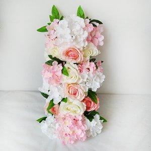 Artificial Flowers Hydrangea Peony Rose Silk Flower Wall Wedding Road Lead Wedding Arch Square Pavilion Corners Decorative Flowers garland