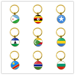 Djibouti,Uganda,Gambia,Congo,Gabon,Comoros,Lesotho,Somalia, 25mm Glass Cabochon National Flag Keychain Keyholder Gift