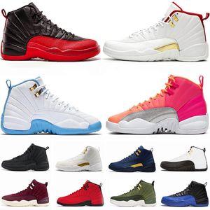 Yeni 12 Taş Mavi Üniversitesi Altın Ters Gribi Oyunu Karanlık Concord ovo Beyaz Adam Basketbol Ayakkabı 12s Playoff Fransız Mavi Sneakers ile Kutusu