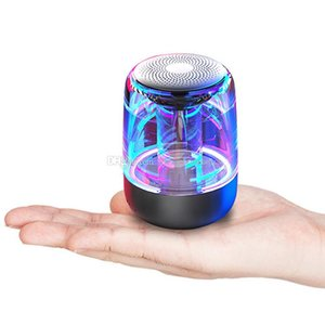 wireless bluetooth speaker C7 2019 trending BT5.0 Transparent LED light Subwoofer TWS 6D Surround HiFi Stereo TF card handsfree call Speaker