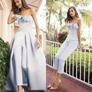 Strapless Jumpsuits Prom Dress Plus Size Elegant Evening Formal Dresses Party Wear Detachable Train vestido de novia