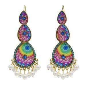 Vintage Retro with Beads Tassel Water Drop Dangle Earrings Rhinestone Statement Earring for Women
