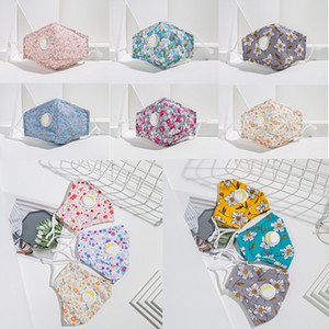 Blumendruck-Gesichtsmaske mit Atemventil Waschbar wiederverwendbare Masken Anti-Staub-Mund-Masken Frau Fashion Gesichtsmasken 11style HHA1454