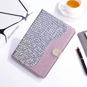 Para o Caso de couro flip Samsung Galaxy Tab S6 T860 Laser Glitter costura crocodilo Textura horizontal com grade de armazenamento Titular